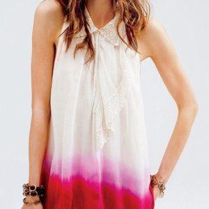 Free People Pink Dip Dye Lace Ruffle Blouse
